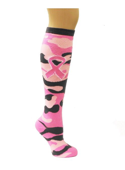 Ladies//Womens Pink Camouflage Over The Knee Socks