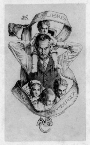 "ALFRED COSSMANN (1870 - 1951). ""Ex Libris Hans Bramberger"". Halbfigur en face des Eigners..."