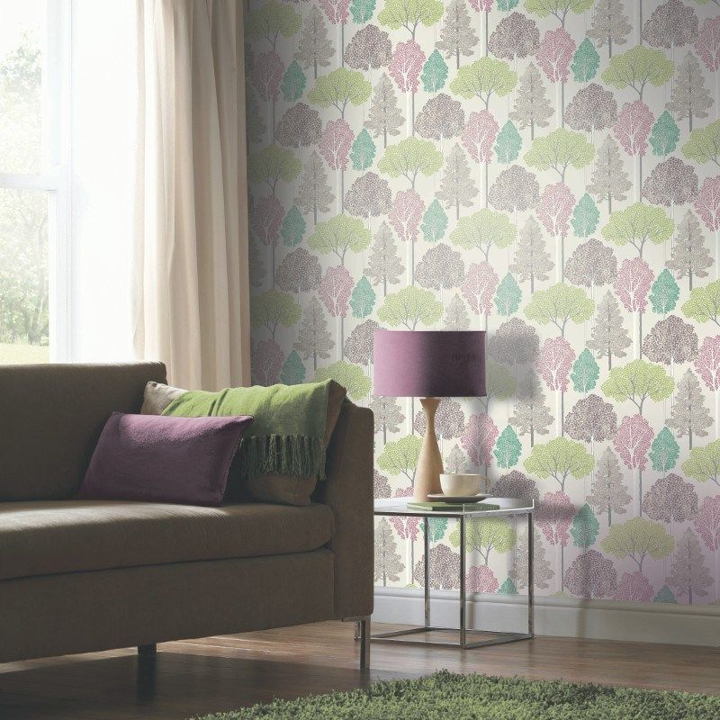 Glitter Trees Pink and Green Wallpaper 670SW000