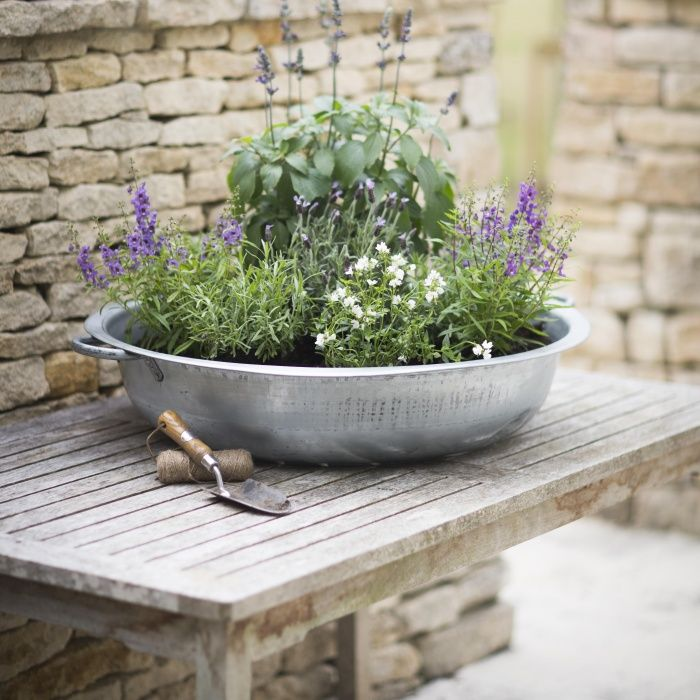 Shallow Galvanised Planter Extra Large Outdoor Planters
