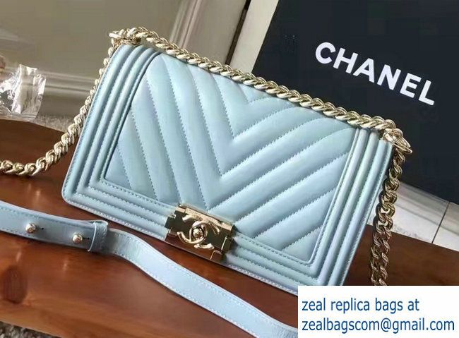Chanel Shine Gold Hardware Boy Chevron Flap Medium Bag Light Blue 2017 470fec5aac9d3