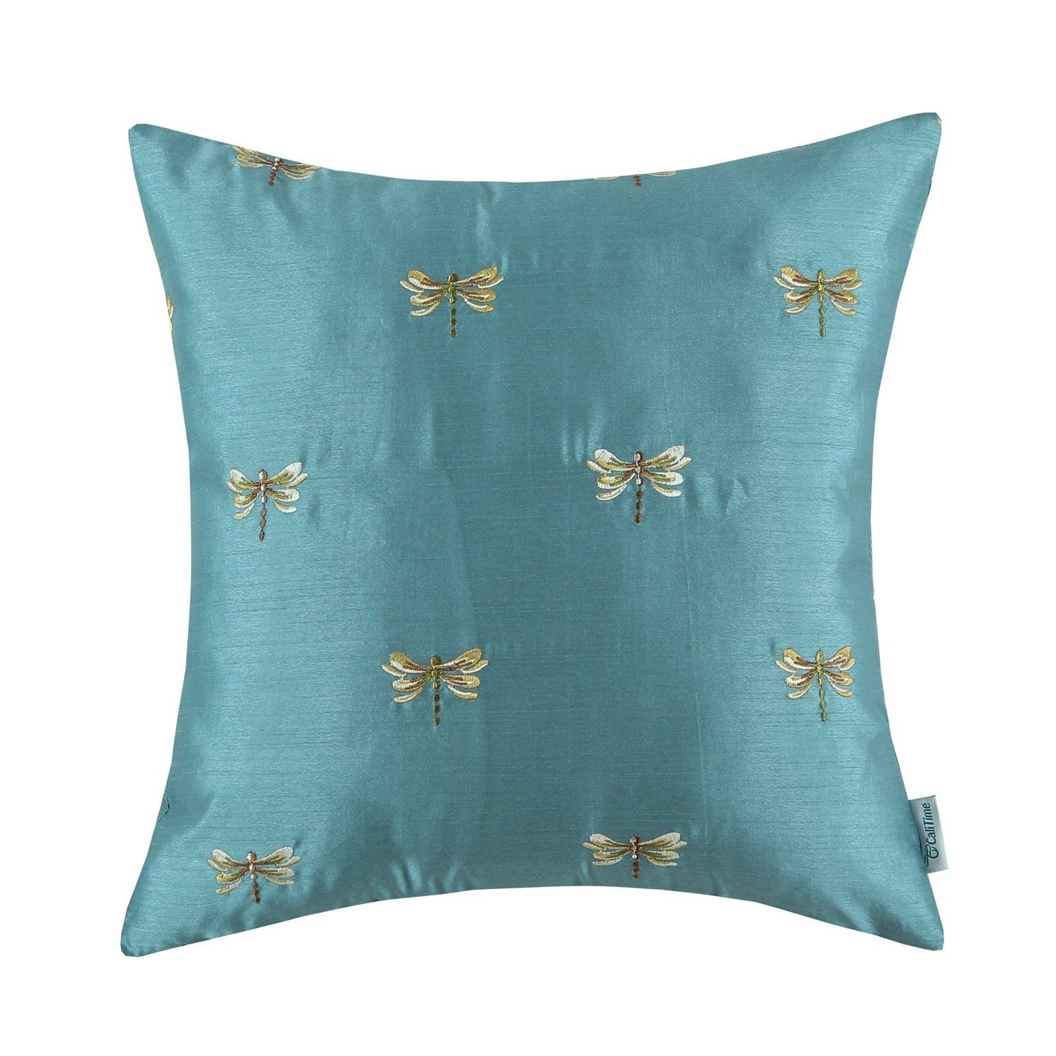 Euphoria CaliTime Contempo Home Decorative Throw Pillow Cushion Cover  Pillowcase Shell Faux Silk Vivid Dragonflies Embroidered Teal Color X