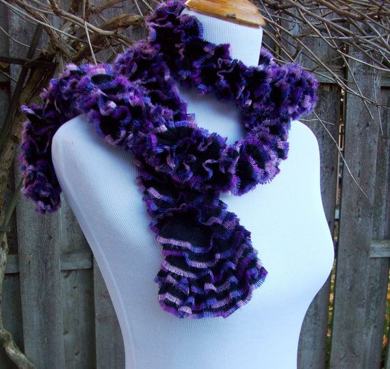 Skinny Ruffled Hand Knit Scarf Black with Purple Accents by Fanchi, $17.00