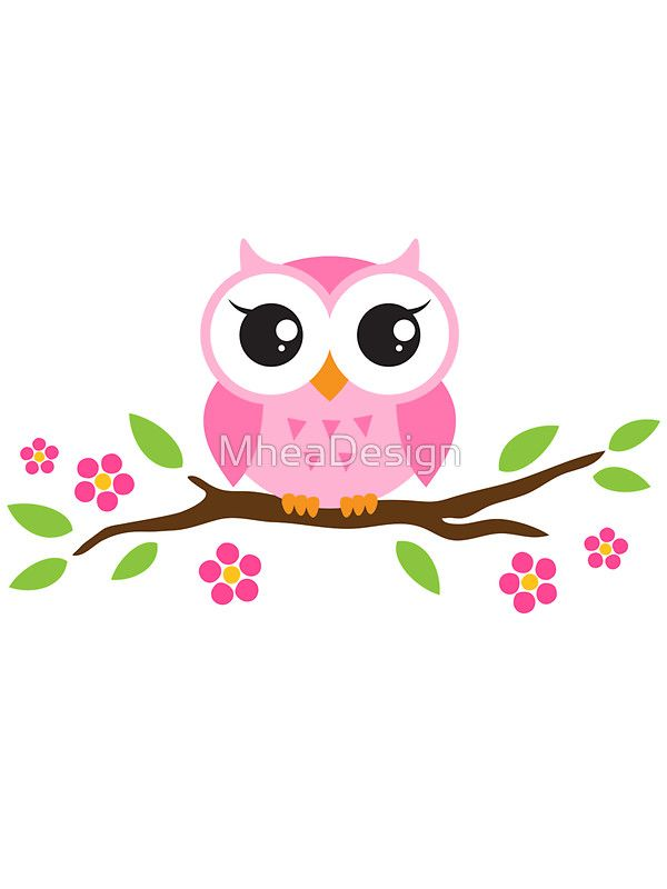 Cute pink cartoon baby owl sitting on a branch with leaves and ...