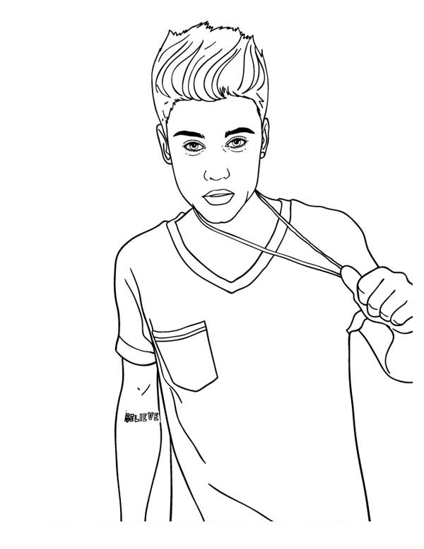 Justin Bieber Coloring Page For Kids Netart In 2020 Justin Bieber Sketch Coloring Pages For Kids Coloring Pages