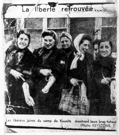 Kaunitz, France, A group of French women after their liberation, 1945.