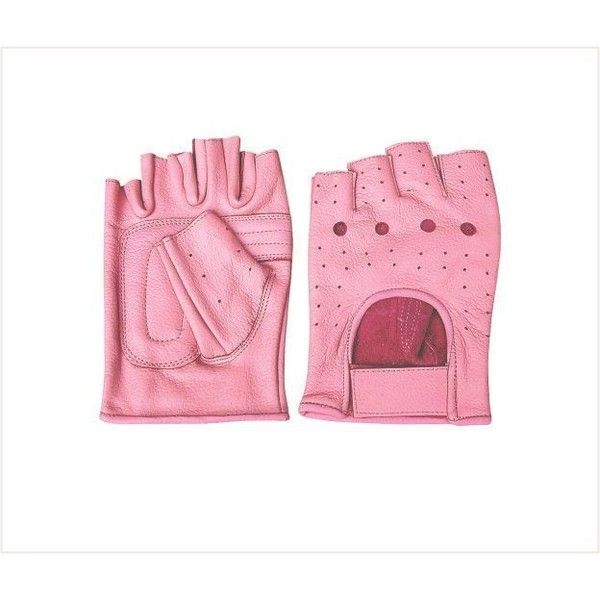 Pink Fingerless Leather Motorcycle Gloves ❤ liked on Polyvore featuring accessories, gloves, fingerless motorcycle gloves, motorcycle gloves, leather motorcycle gloves, pink motorcycle gloves and leather gloves