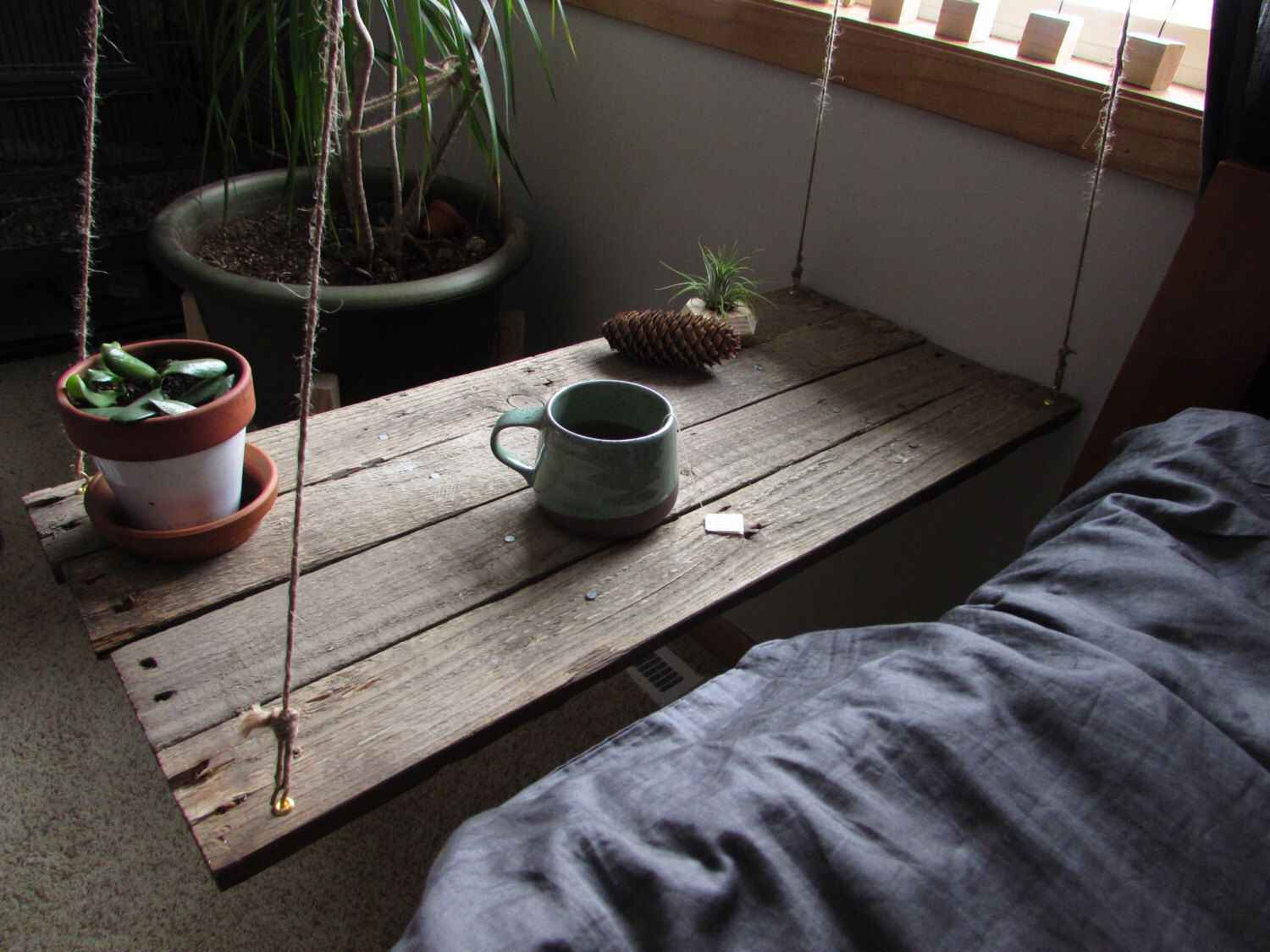 Reclaimed wood hanging table -hanging bedside table - hanging ...