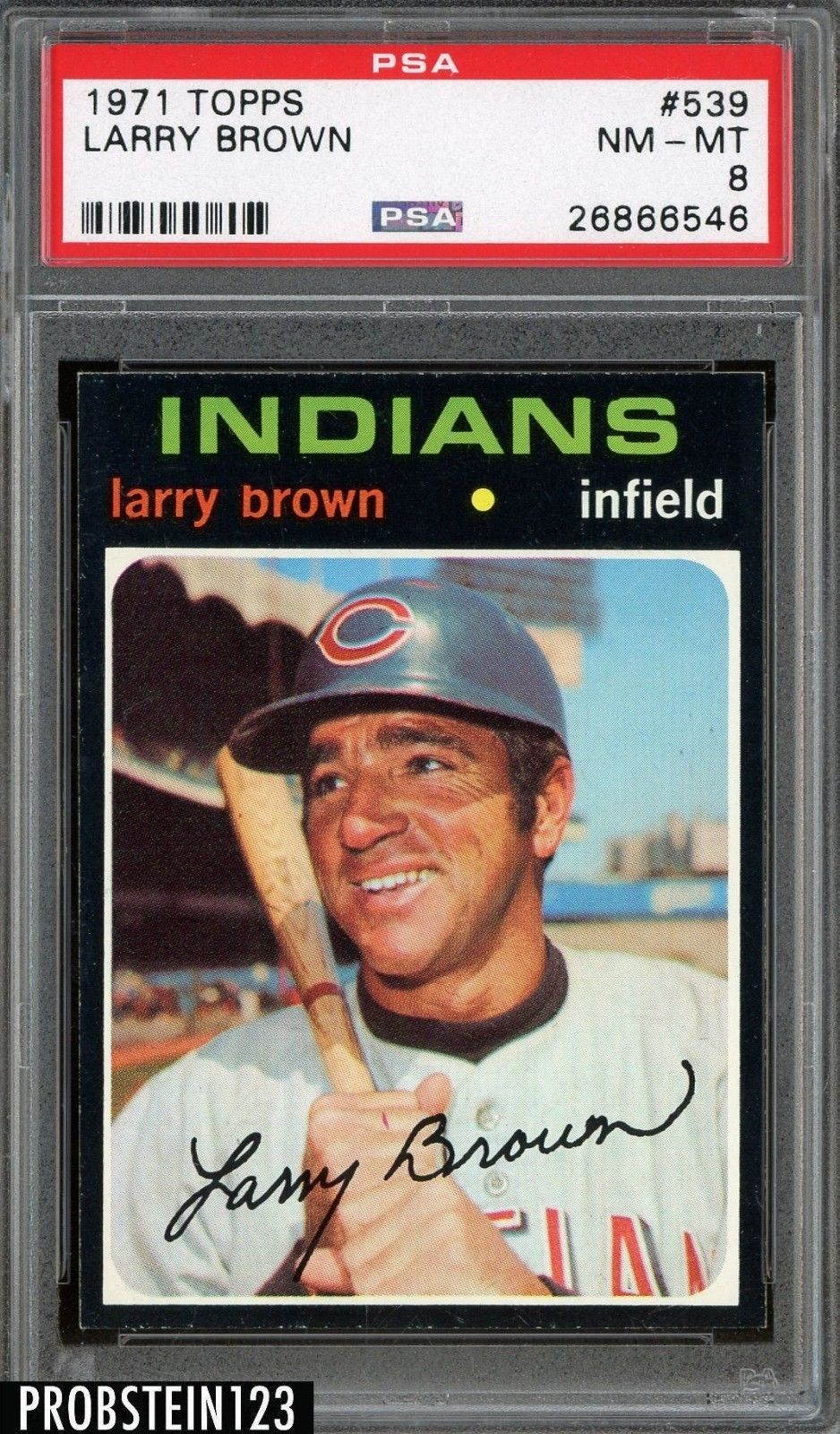1971 topps 539 larry brown cleveland indians psa 8 nmmt
