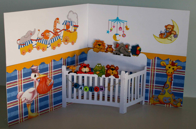 New Baby 3D Pop-Up Greeting Card~Crib Nursery~Baby Shower Keepsake