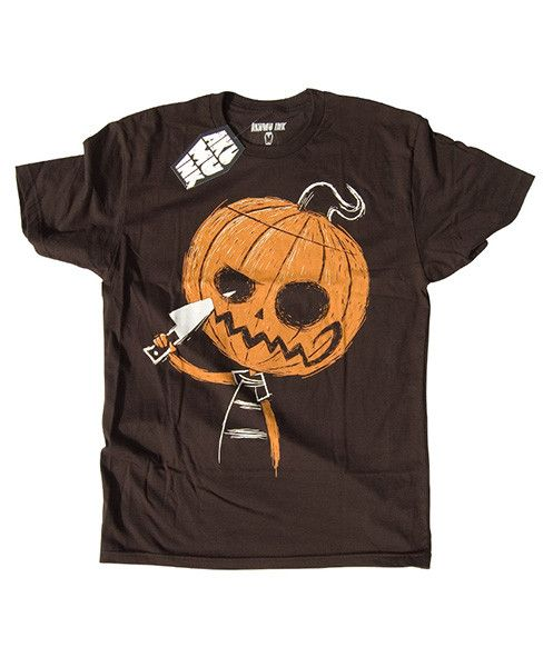 b77aeea6a769 This short sleeve Akumu Ink crewneck t-shirt features hand-drawn artwork of  a pumpkin carving his own smile. Our small coffin shaped logo is printed on  the ...