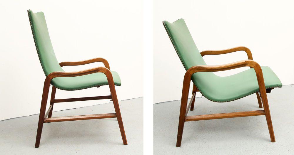 Eleganter 50er Jahre LÜBKE Sessel Flaschengrün verstellbar   Vintage ...