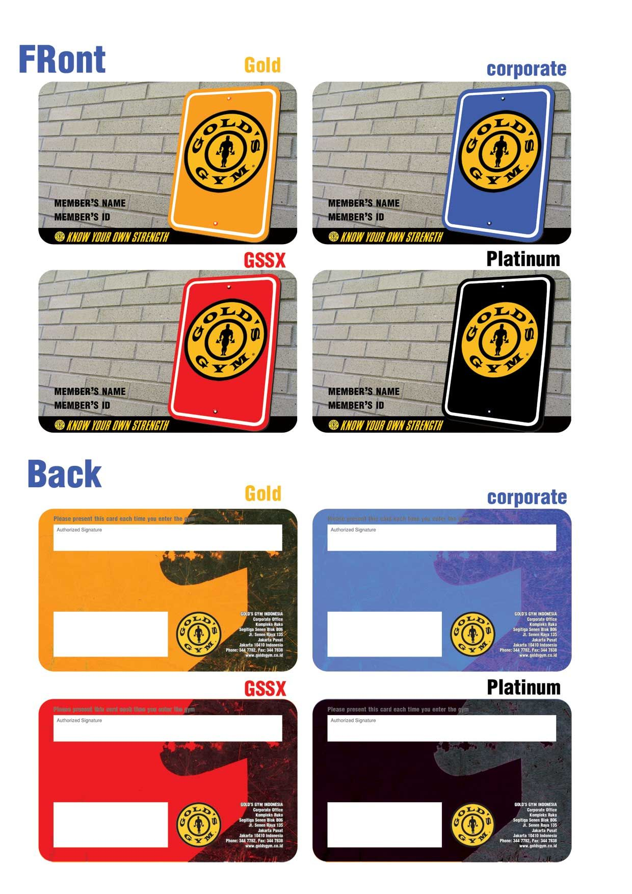Gold Gym Membership Card