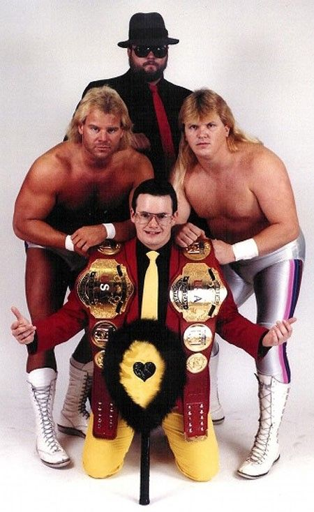 Midnight Express With Manager Jim Cornette And Big Bubba Nwa Wrestling Wrestling Stars Wrestling Divas