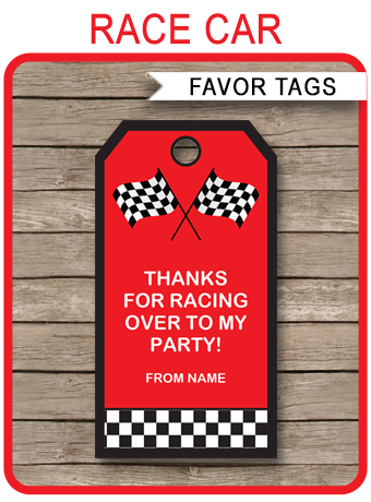 race car party favor tags template red in 2018 projects to try