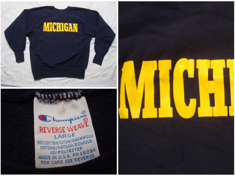 Vintage Champion Sweatshirt University Of Michigan Wolverines Etsy Vintage Champion Sweatshirts Champion Reverse Weave [ 1125 x 1500 Pixel ]
