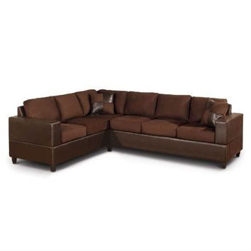 Dark Brown Chocolate Sectional Sofa In Microfiber And Faux Leather 2 Piece Sectional Sofa Leather Sectional Sofas Faux Leather Sectional
