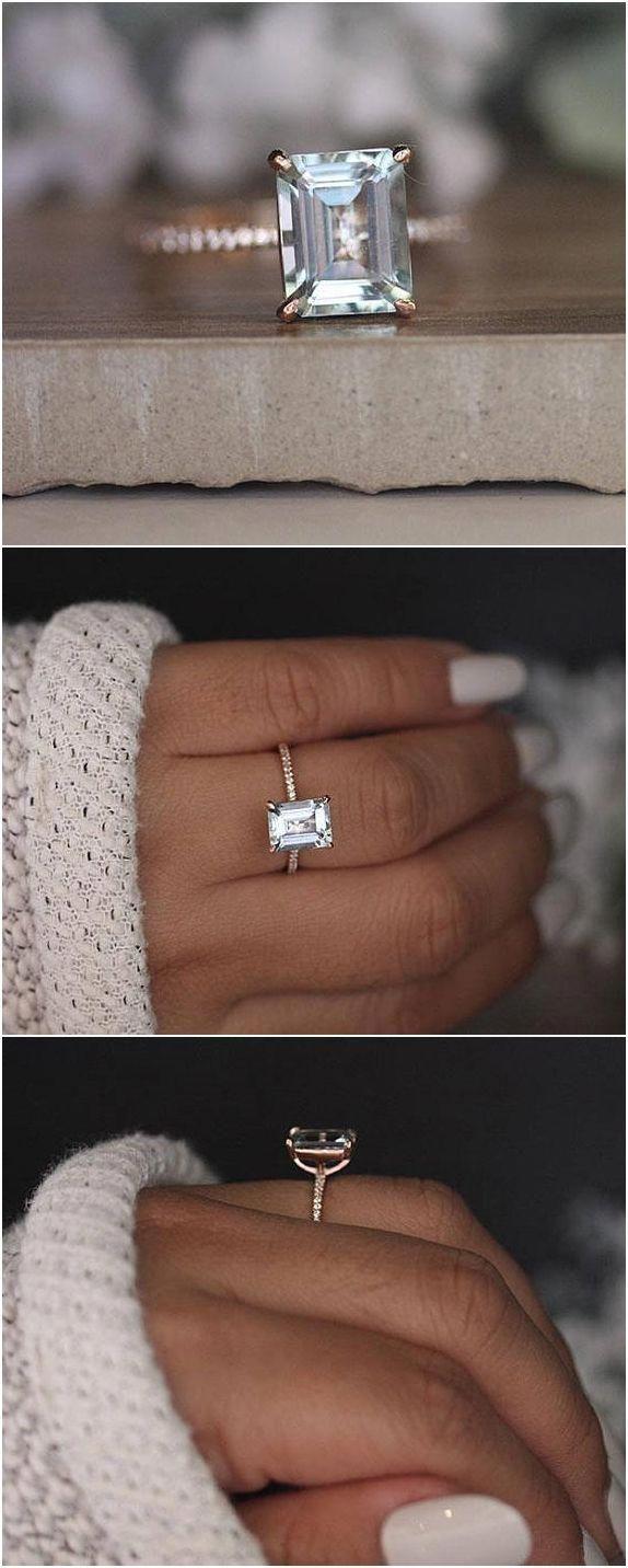 Emerald Cut Aquamarine 9x7mm Solitaire Engagement Ring, Diamond Half Eternity Band, 14k Rose Gold Aquamarine Handmade Ring, Bridal Ring #weddings #rings #weddingrings #solitaireengagementring #aquamarineengagementring