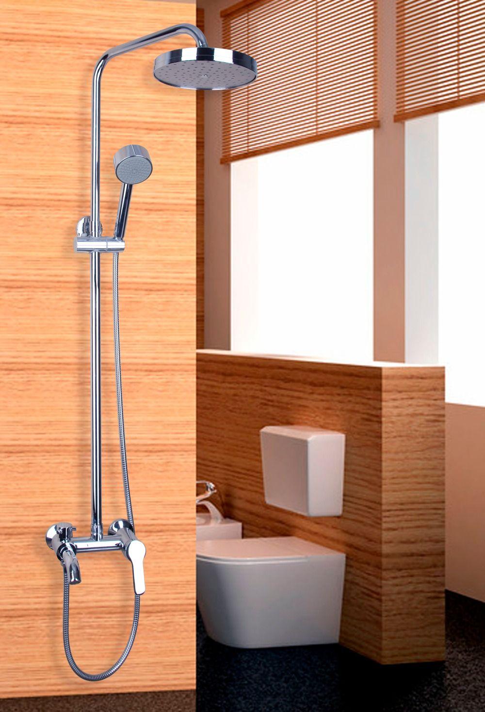 Wall Installation Chrome Mixer 8 Rain Shower Faucet Set W Hand
