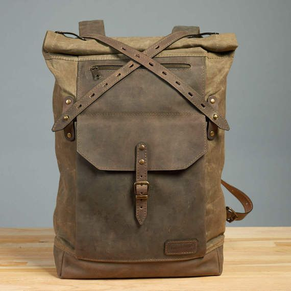 Olive green waxed canvas backpack. Waxed canvas by InnesBags . Handcrafted  roll top backpack. Leather and waxed canvas. 8fb3ed3abc35b