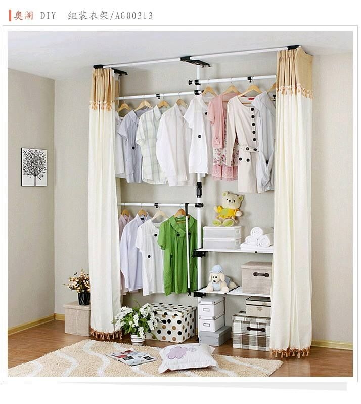 Even better a hideaway no space closet idea i No closet hanging solutions
