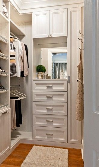 Nice Small Walk In Closet White Chocolate Textured Melamine Recessed Panel Doors And Drawer Fronts Crown And Base Mo Closet Remodel Closet Layout Closet Design