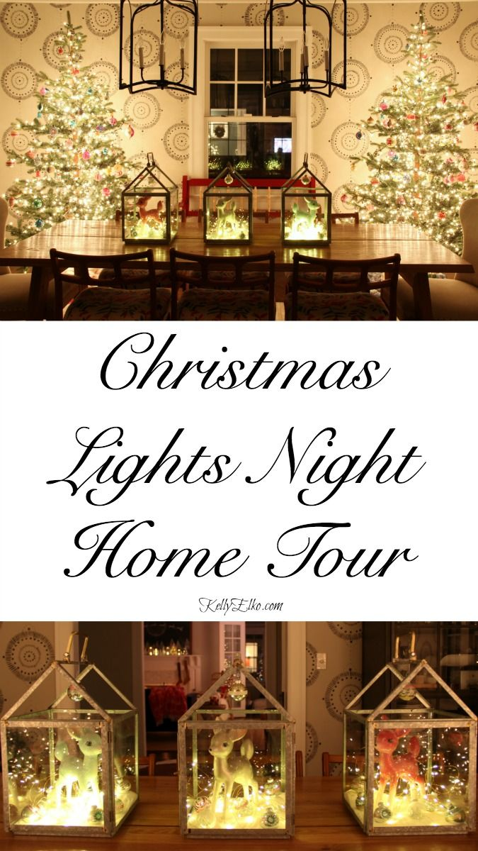Christmas Lights Night Tour - stunning home by glowing lights kellyelko.com #christmas #christmslights #christmasdecor #christmasdecorating #christmasdiningroom #vintagechristmas #retrochristmas #christmastrees #christmascenterpiece