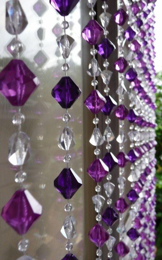 Multi Purple Gemstone Shape Beaded Curtain 8 Feet Long Beaded