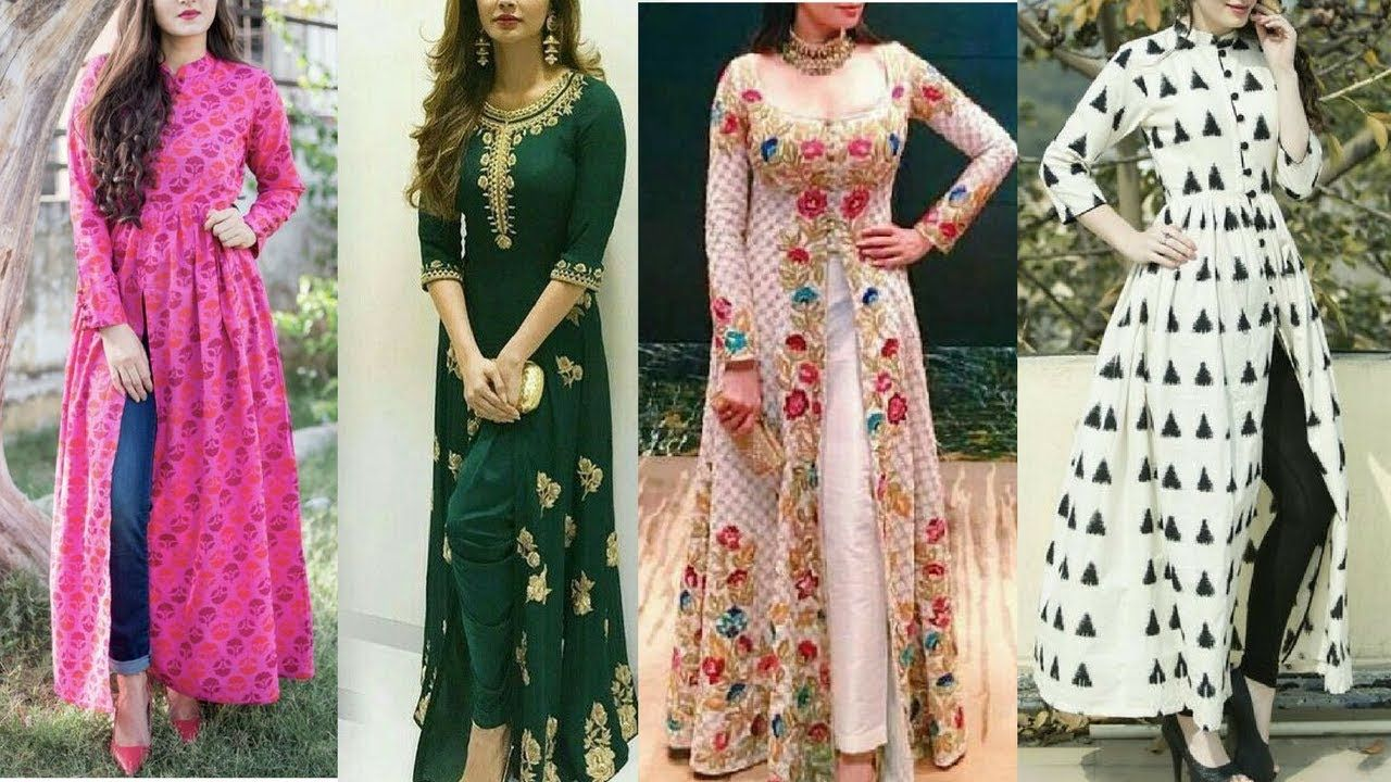 6004a3d68b0 Long kurtis with front cuts for jeans | Long front cut kurti with jeans .