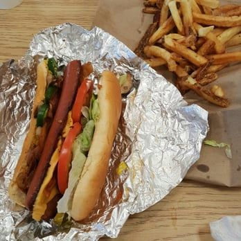 Five Guys Bacon Cheese Dog With Five Guys Style Fries Contains 1 648 Calories And 2 662 Milligrams Of Sodium Food Cheese Dog Bacon Cheese