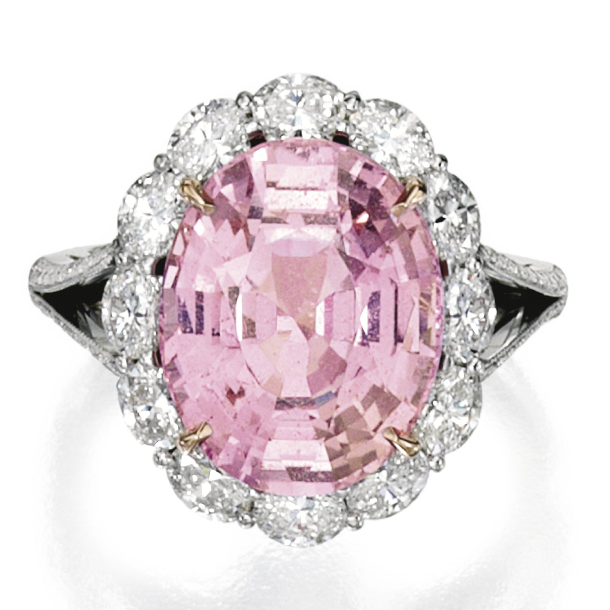 PLATINUM, 18 KARAT ROSE GOLD, PADPARADSCHA SAPPHIRE AND DIAMOND RING ...