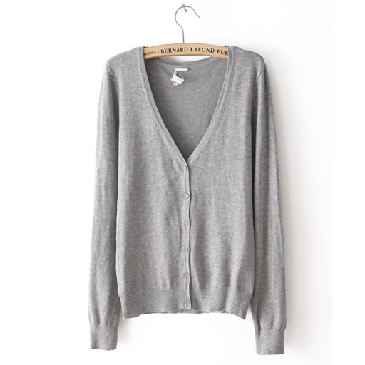 جيليه نسائي صوف رمادي Fashion Cardigan Sweaters