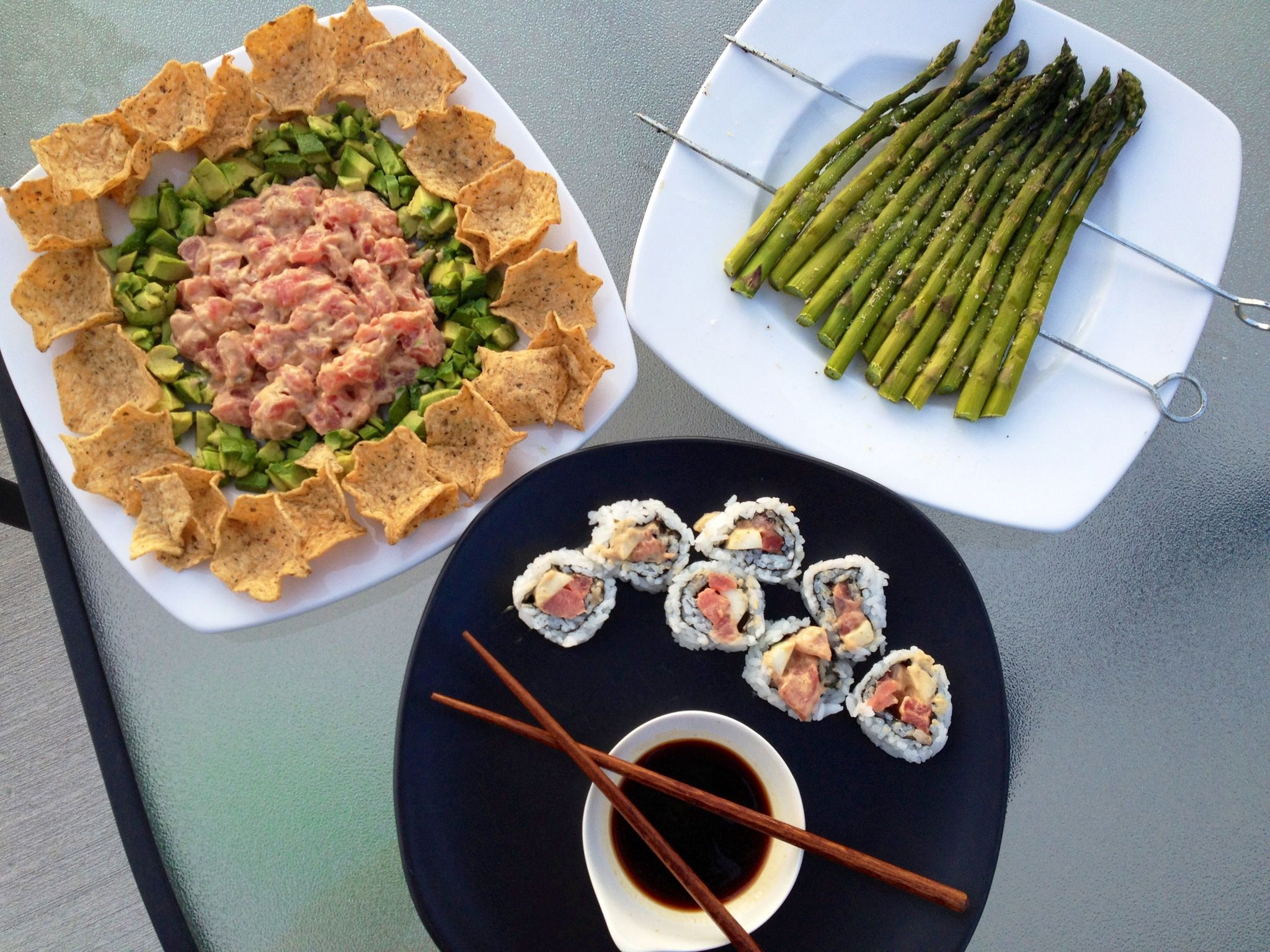 Homemade Tuna Tartar with Avocado, Grilled Asparagus and Spicy Tuna Cucumber Roll!