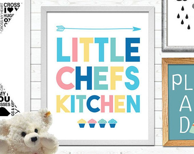 Little Chefs Kitchen, Nursery Print, Kitchen Print, Wall Art, Little Chef  Poster, Kids Room, Kitchen Decor, Digital File