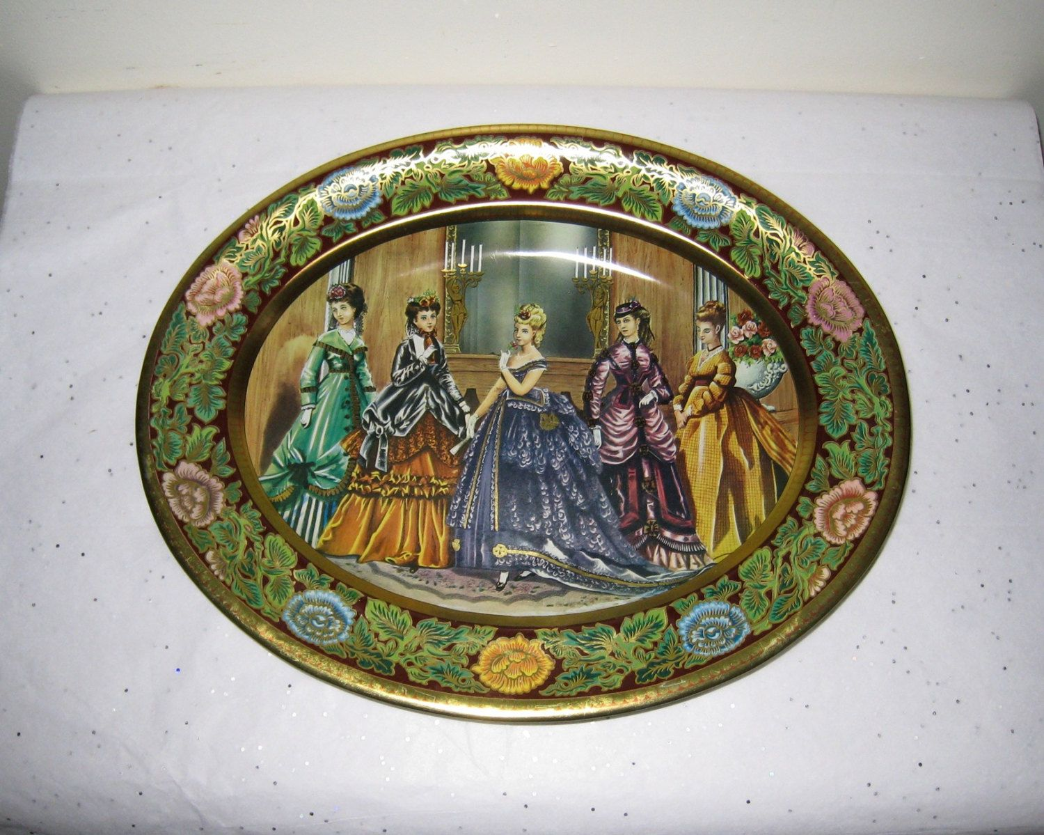 Daher Decorated Ware Tray Made In England Inspiration Daher Decorated Ware Oval Tin Tray  Metalware Bowl  Tin Litho Design Decoration