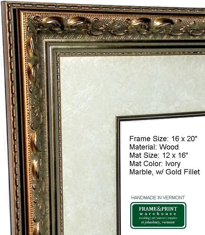 Ornate Gold Picture Frame With Mat Gold Fillet Glass Backer Hanger Wood Handmade Victorianstyle Gold Picture Frames Picture Frames Frame