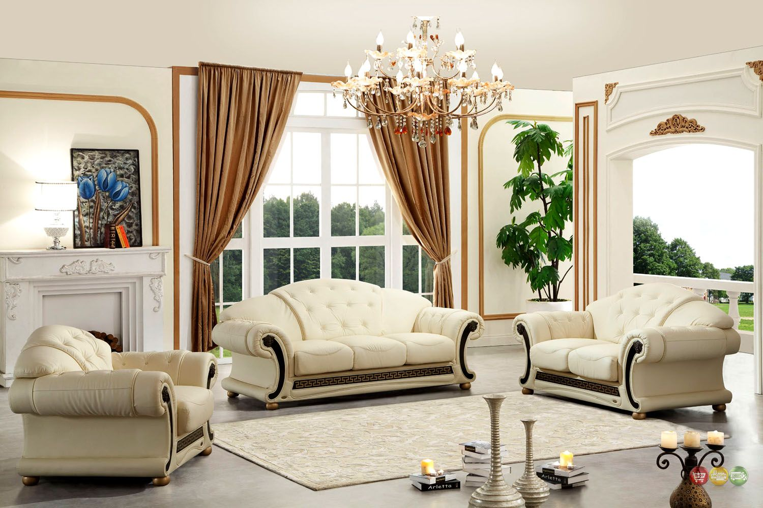 Versace Cleopatra Cream Italian Top Grain Leather Beige Living Room Sofa Set