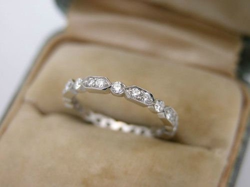 Estate Art Deco Diamond Eternity Band Platinum Baby Stacking Ring