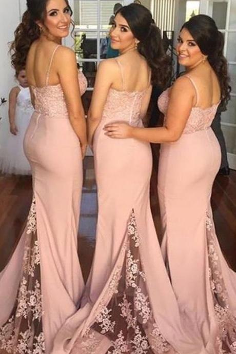 e5a171a33a Hot Selling Blush Bridesmaid Dress - Mermaid Spaghetti Straps with Lace