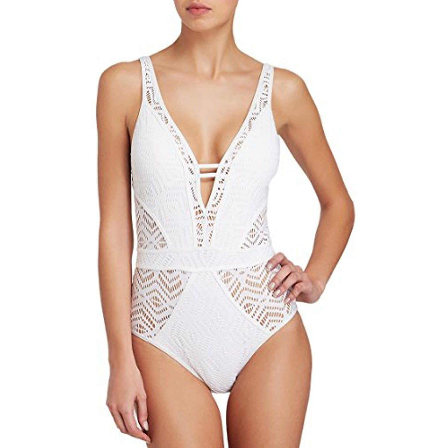6369c618c7 Sovoyant Women s V Neck Mesh Lace Hollow Out One Piece Swimsuit Swimwear  Petite Size     Check out this great product. (This is an affiliate link)   Swimwear