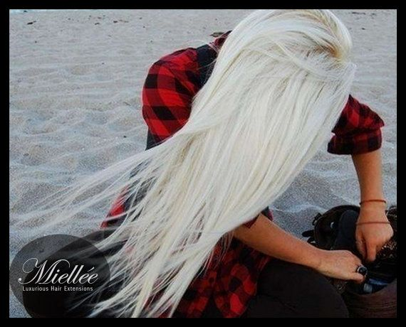 Icy Ash Blonde Weave Hair Extensions Silky Straight Natural