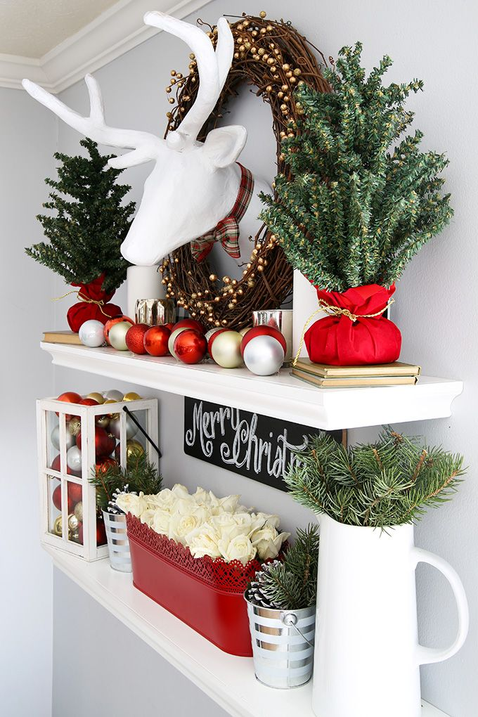 How To Style Floating Shelves For The Holidays Christmas Bookshelf Christmas Decorations Natural Holiday Decor
