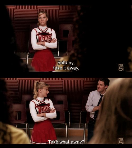 S1E12 - Hairography:  Lol Brittany giving The New Directions a lesson on Hairography.