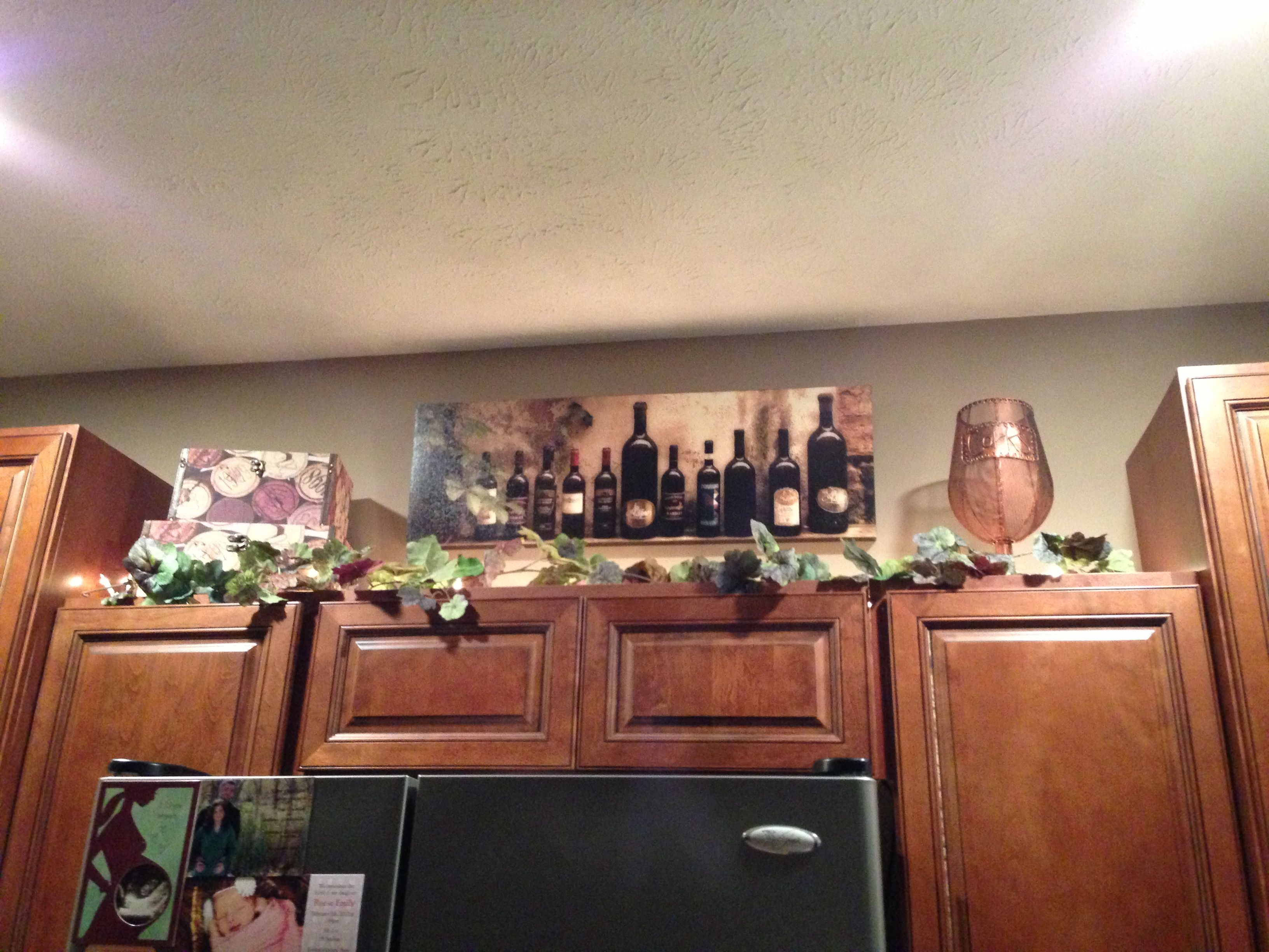 Wine kitchen cabinet decorations home decor ideas - Kitchen decor theme ideas ...