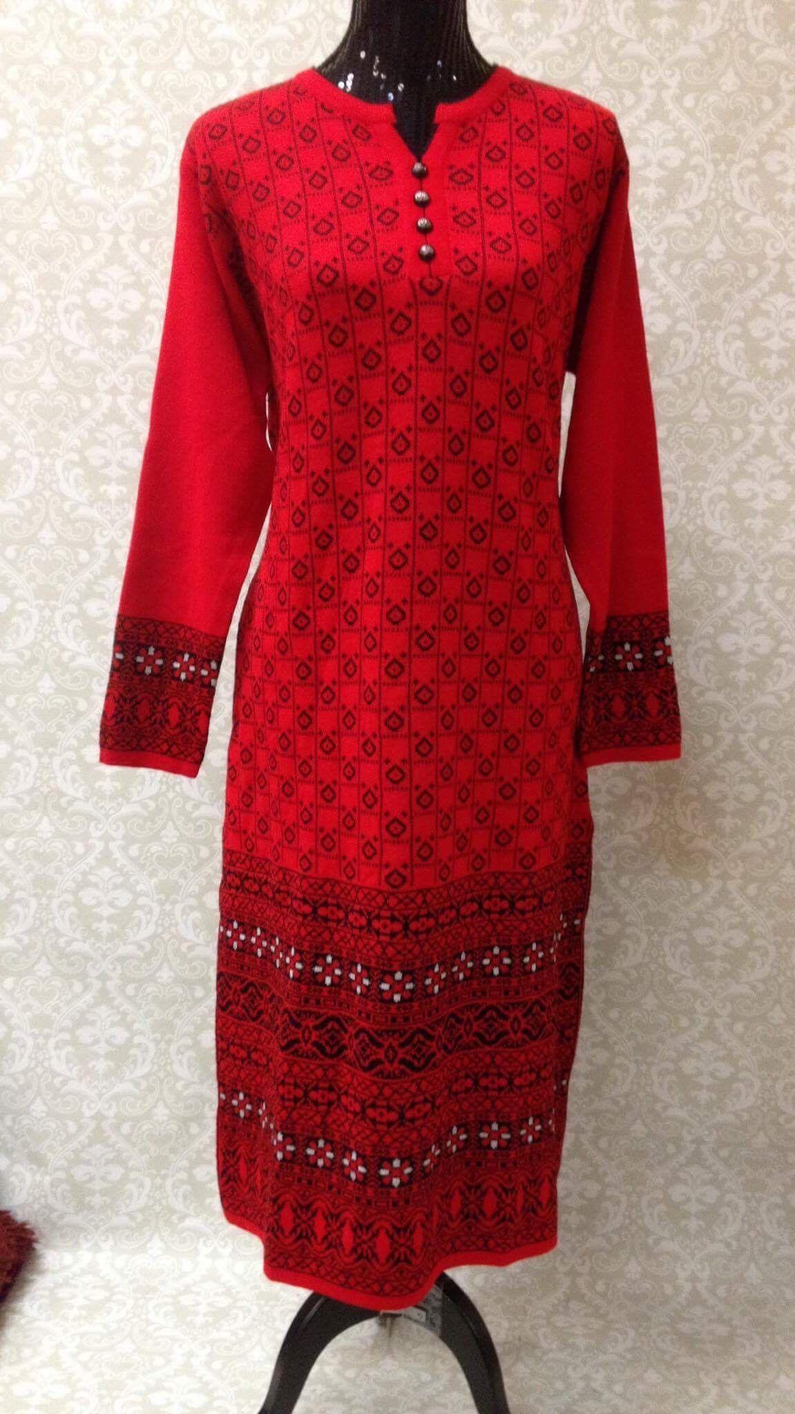 f63dae97e Winter Special Woolen Kurti-RedBlack