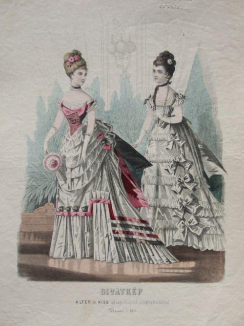 Evening dresses, 1874 Austria-Hungary (modern-day Budapest, Hungary), Budapesti Bazárra