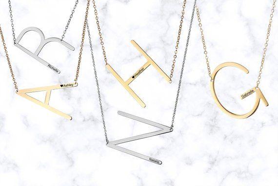 5c72c8998fef SALE large initial necklace oversized letter alphabet personalized sideways  initial oversize letter