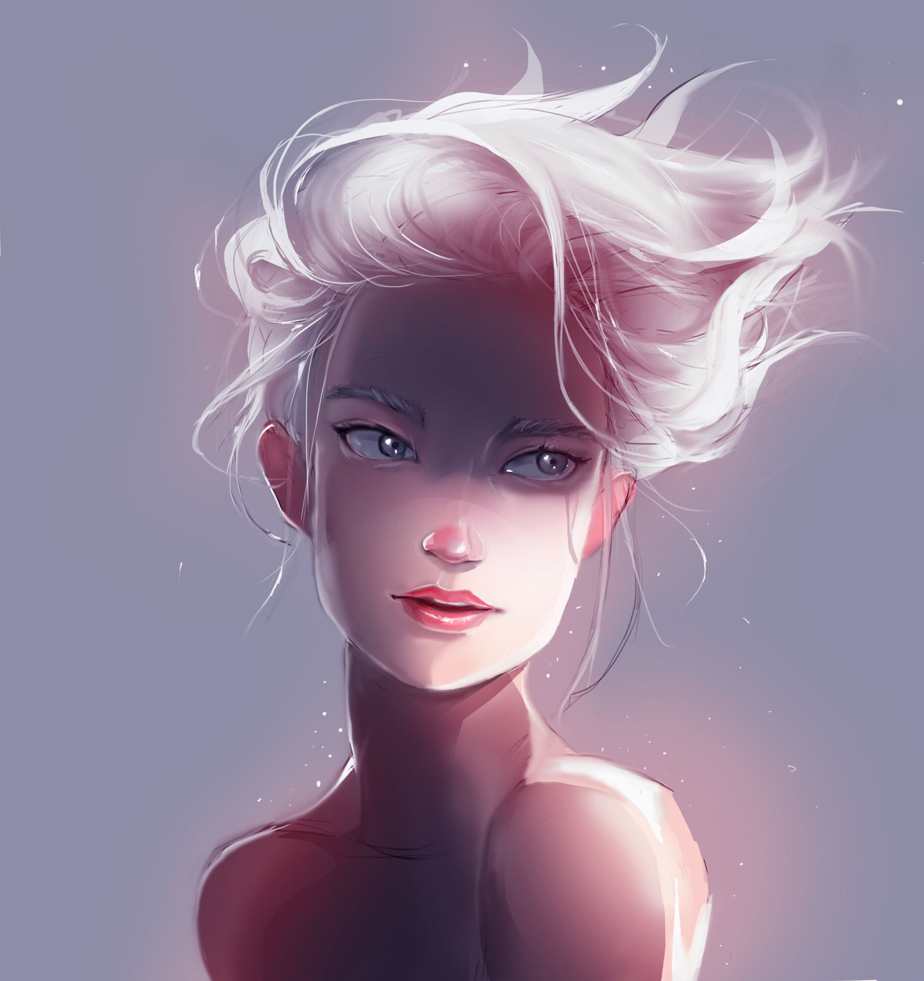 Artstation White Hair Girl 1 Hiran Ya Short White Hair White Hair Blind Art