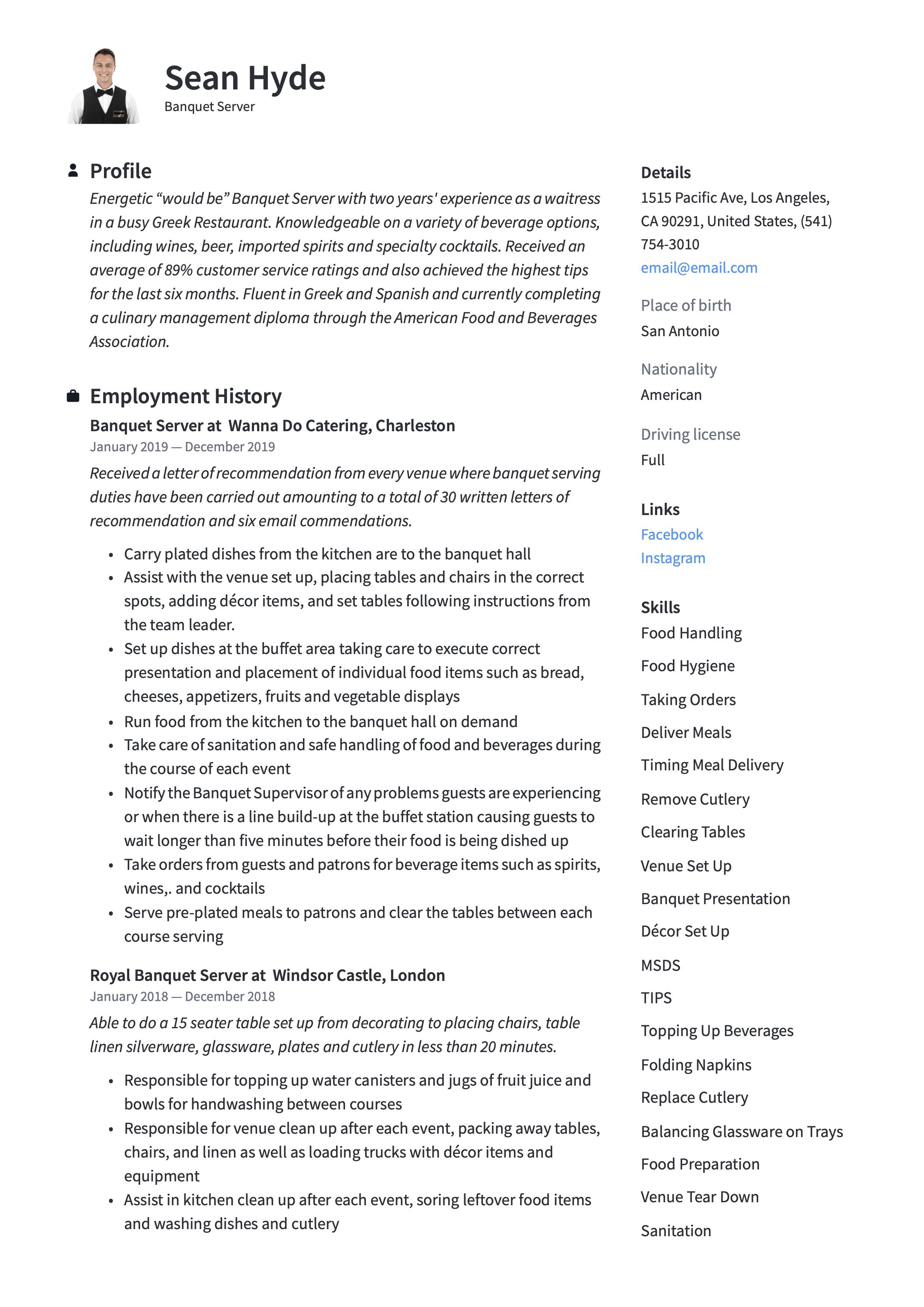 Banquet server resume sample in 2020 resume examples