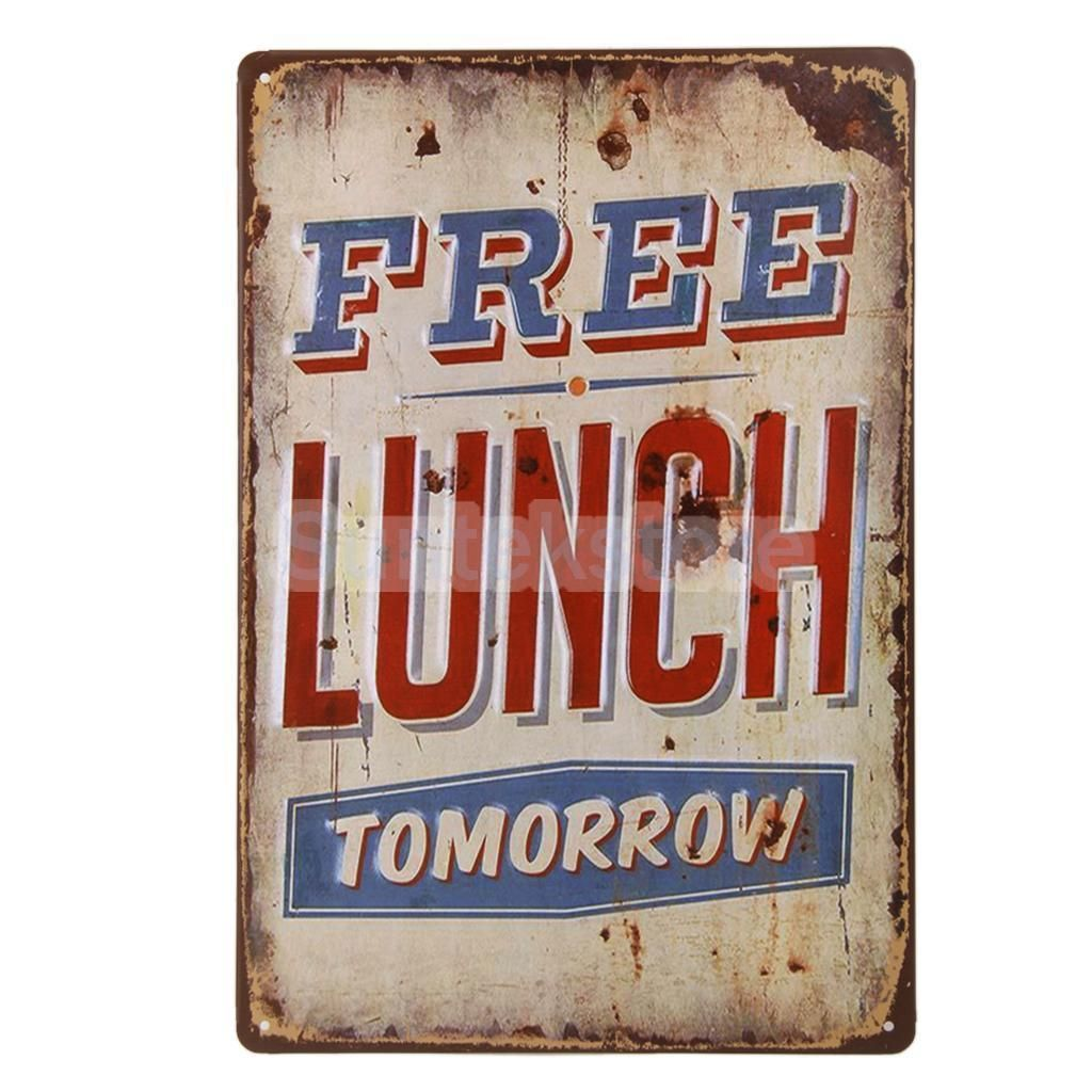 Xcm retro metal tin sign plaque free lunch tomorrow poster bar
